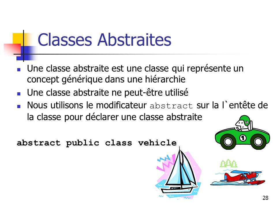 28 Classes Abstraites Une classe abstraite est une classe qui représente un concept générique dans une hiérarchie Une classe abstraite ne peut-être ut