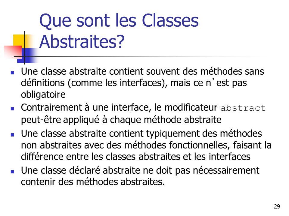 29 Que sont les Classes Abstraites? Une classe abstraite contient souvent des méthodes sans définitions (comme les interfaces), mais ce n`est pas obli