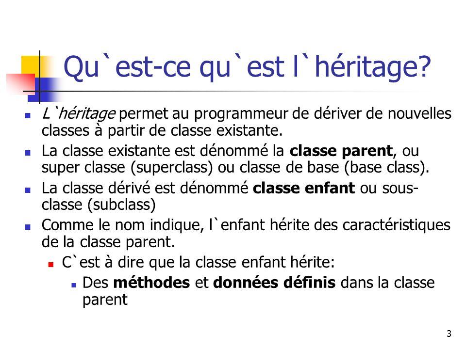3 Qu`est-ce qu`est l`héritage? L`héritage permet au programmeur de dériver de nouvelles classes à partir de classe existante. La classe existante est