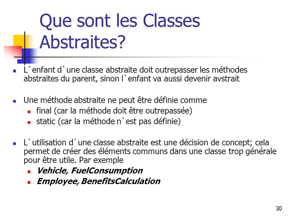 30 Que sont les Classes Abstraites? L`enfant d`une classe abstraite doit outrepasser les méthodes abstraites du parent, sinon l`enfant va aussi deveni
