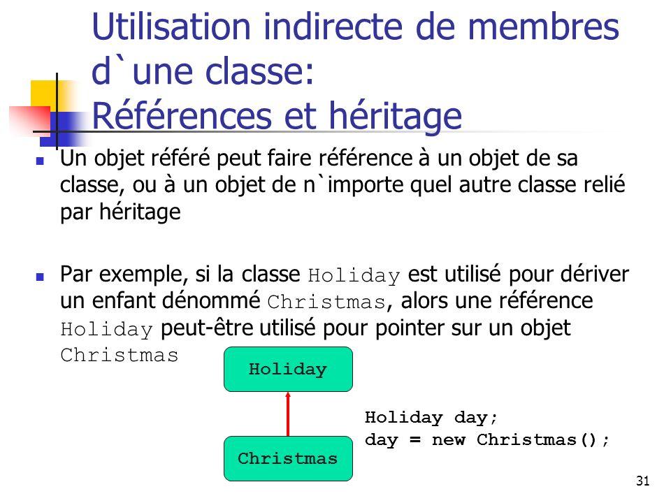 31 Utilisation indirecte de membres d`une classe: Références et héritage Un objet référé peut faire référence à un objet de sa classe, ou à un objet d