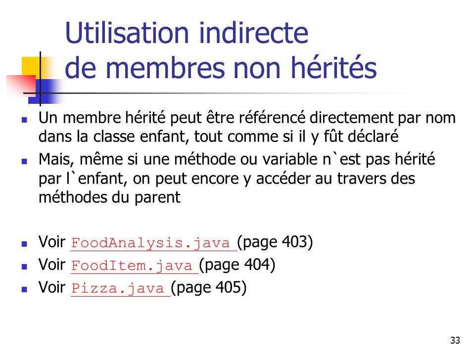 33 Utilisation indirecte de membres non hérités Un membre hérité peut être référencé directement par nom dans la classe enfant, tout comme si il y fût