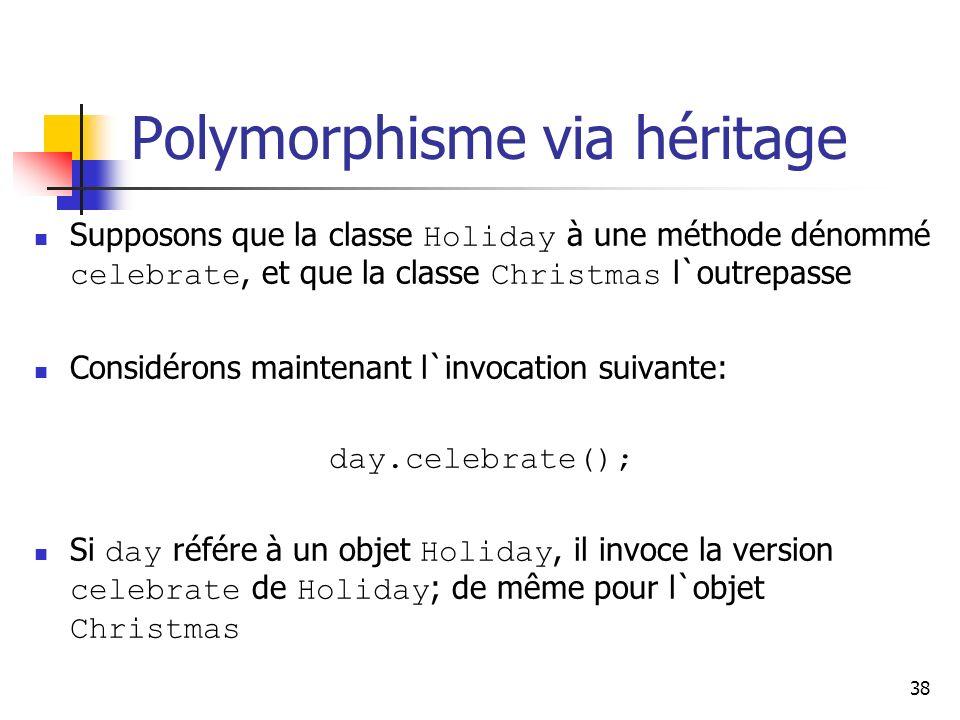 38 Polymorphisme via héritage Supposons que la classe Holiday à une méthode dénommé celebrate, et que la classe Christmas l`outrepasse Considérons mai
