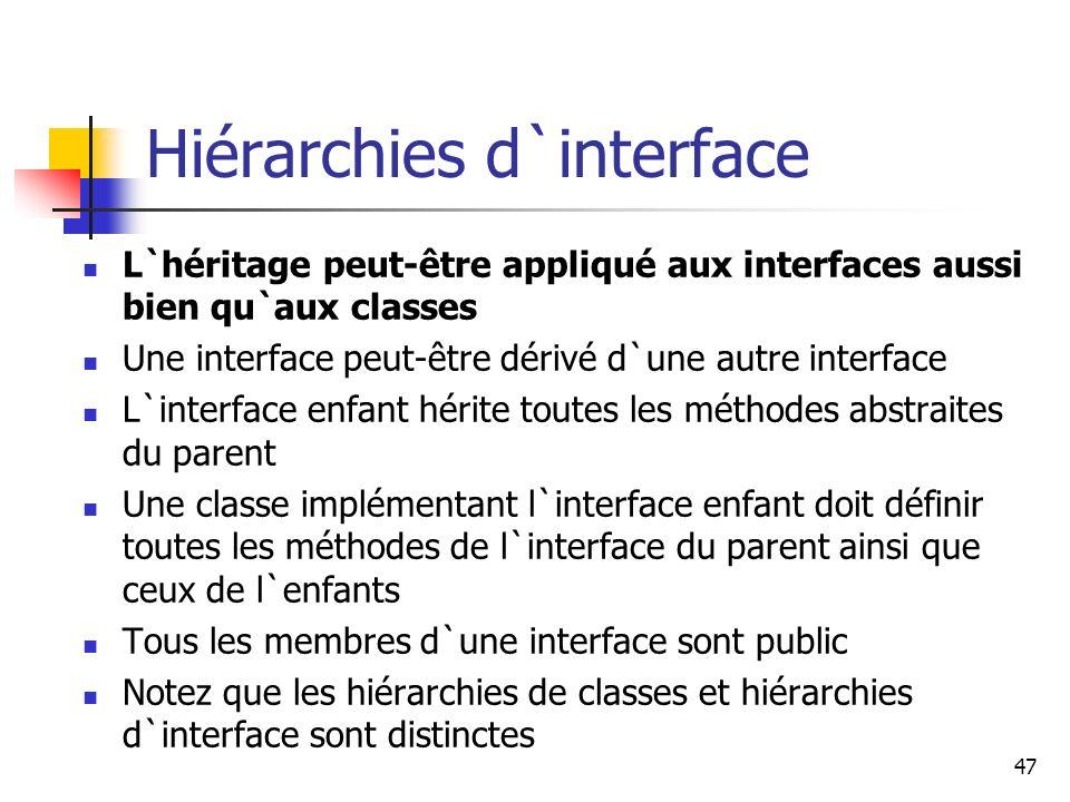 47 Hiérarchies d`interface L`héritage peut-être appliqué aux interfaces aussi bien qu`aux classes Une interface peut-être dérivé d`une autre interface