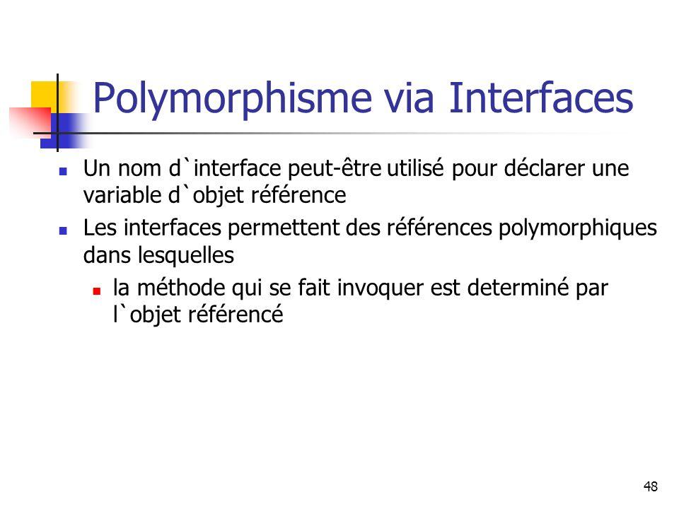48 Polymorphisme via Interfaces Un nom d`interface peut-être utilisé pour déclarer une variable d`objet référence Les interfaces permettent des référe