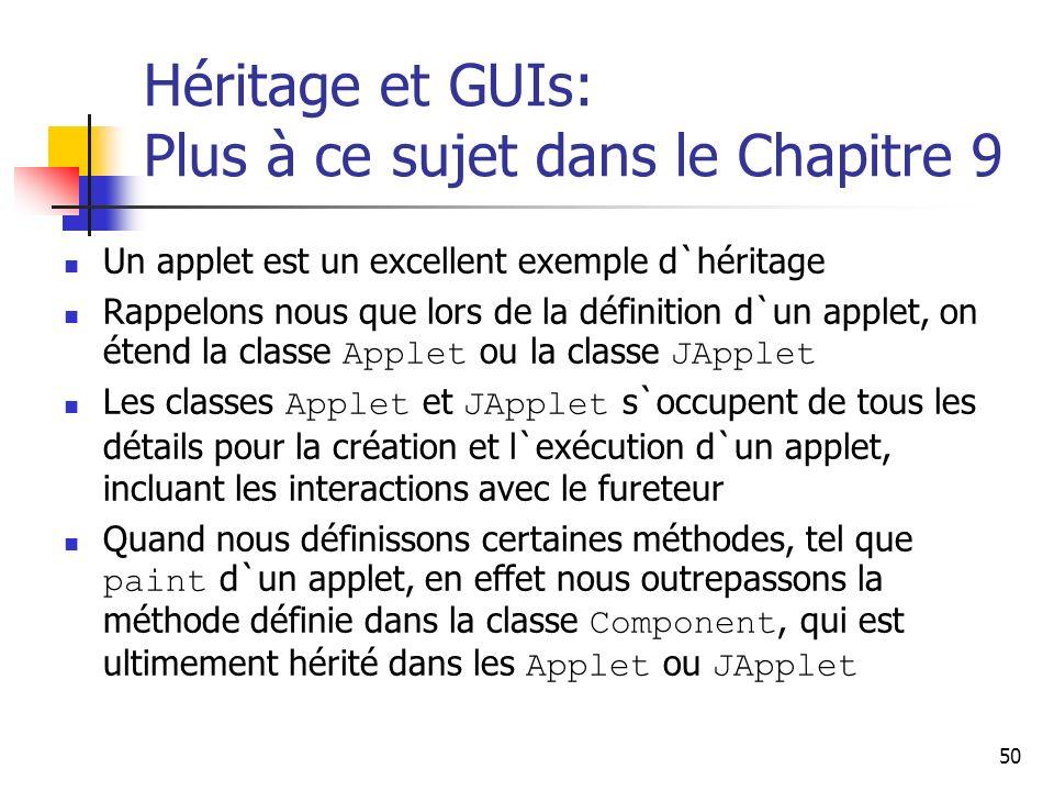 50 Héritage et GUIs: Plus à ce sujet dans le Chapitre 9 Un applet est un excellent exemple d`héritage Rappelons nous que lors de la définition d`un ap