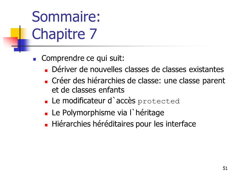 51 Sommaire: Chapitre 7 Comprendre ce qui suit: Dériver de nouvelles classes de classes existantes Créer des hiérarchies de classe: une classe parent