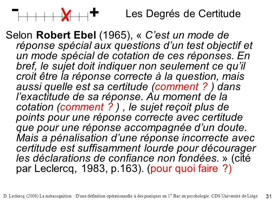 D. Leclercq (2008) La métacognition : D'une définition opérationnelle à des pratiques en 1° Bac en psychologie. CDS Université de Liège 31 Les Degrés