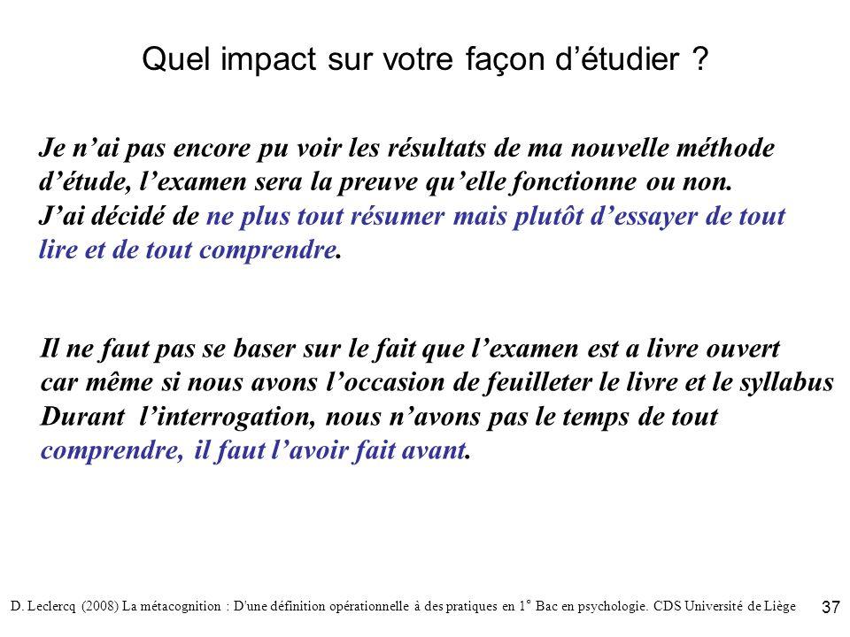 D. Leclercq (2008) La métacognition : D'une définition opérationnelle à des pratiques en 1° Bac en psychologie. CDS Université de Liège 37 Quel impact
