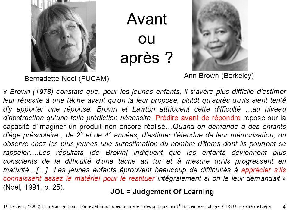 D. Leclercq (2008) La métacognition : D'une définition opérationnelle à des pratiques en 1° Bac en psychologie. CDS Université de Liège 4 Avant ou apr