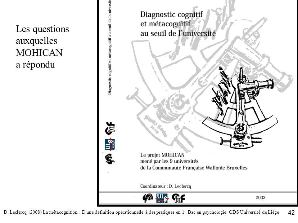 D. Leclercq (2008) La métacognition : D'une définition opérationnelle à des pratiques en 1° Bac en psychologie. CDS Université de Liège 42 Les questio
