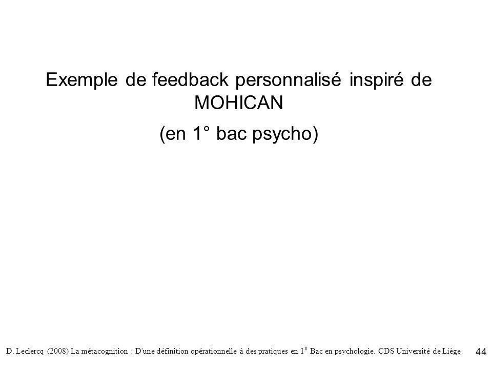 D. Leclercq (2008) La métacognition : D'une définition opérationnelle à des pratiques en 1° Bac en psychologie. CDS Université de Liège 44 Exemple de