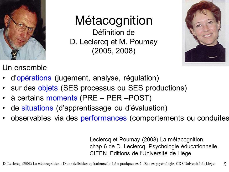 D. Leclercq (2008) La métacognition : D'une définition opérationnelle à des pratiques en 1° Bac en psychologie. CDS Université de Liège 9 Métacognitio
