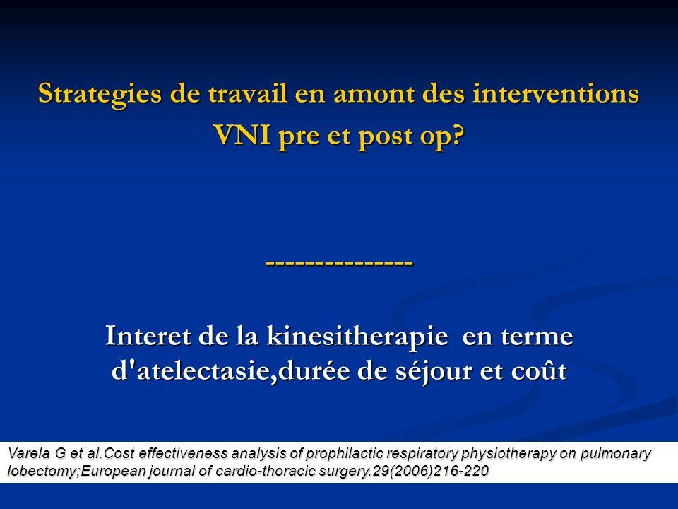 Strategies de travail en amont des interventions VNI pre et post op? --------------- Interet de la kinesitherapie en terme d'atelectasie,durée de séjo
