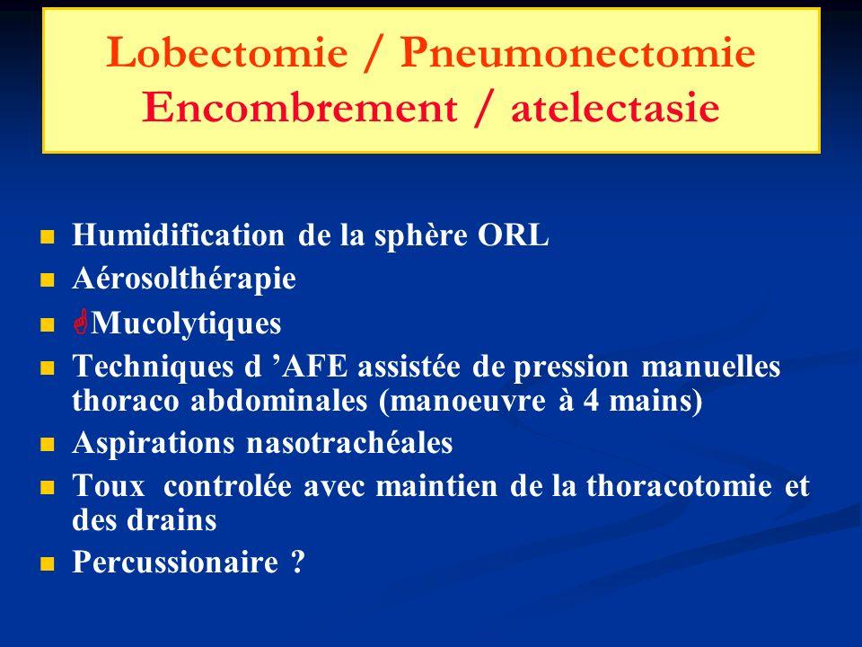 Lobectomie / Pneumonectomie Encombrement / atelectasie Humidification de la sphère ORL Aérosolthérapie Mucolytiques Techniques d AFE assistée de press