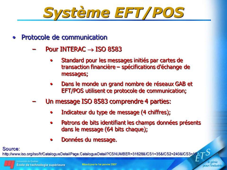 Mise à jour le 1er janvier 2007 Système EFT/POS Protocole de communicationProtocole de communication –Pour INTERAC ISO 8583 Standard pour les messages