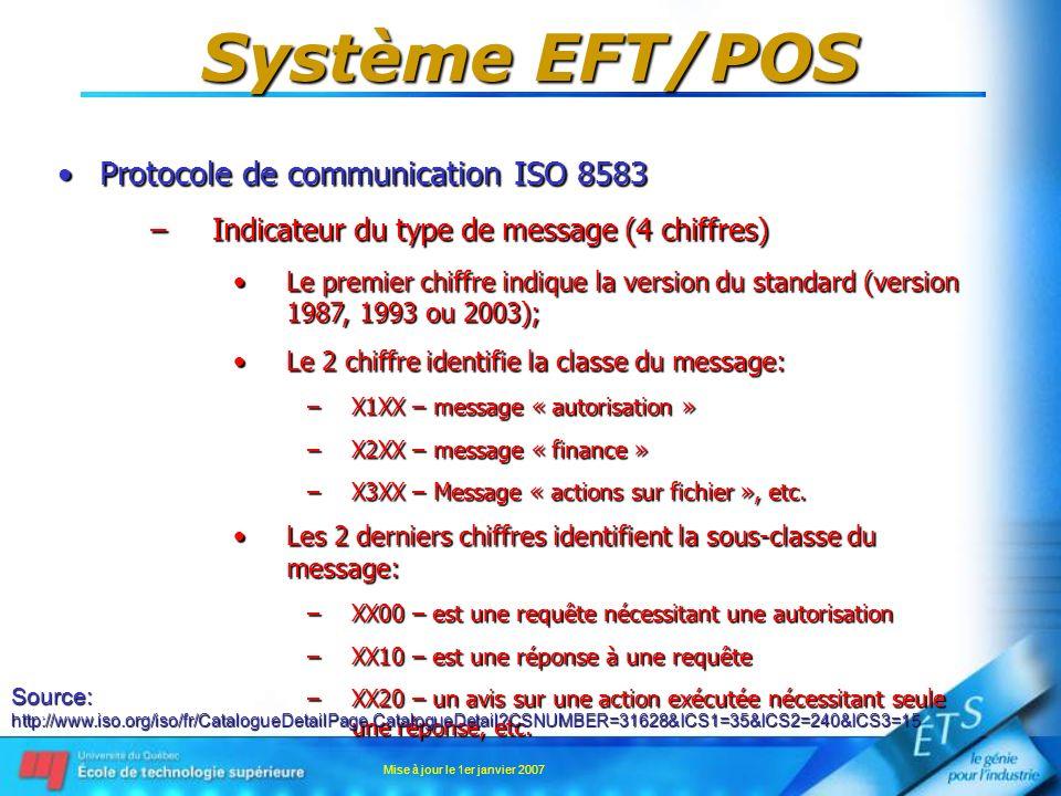 Mise à jour le 1er janvier 2007 Système EFT/POS Protocole de communication ISO 8583Protocole de communication ISO 8583 –Indicateur du type de message