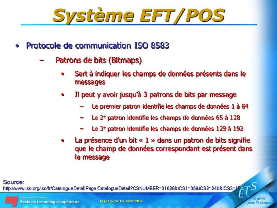 Mise à jour le 1er janvier 2007 Système EFT/POS Protocole de communication ISO 8583Protocole de communication ISO 8583 –Patrons de bits (Bitmaps) Sert
