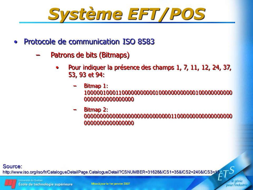 Mise à jour le 1er janvier 2007 Système EFT/POS Protocole de communication ISO 8583Protocole de communication ISO 8583 –Patrons de bits (Bitmaps) Pour