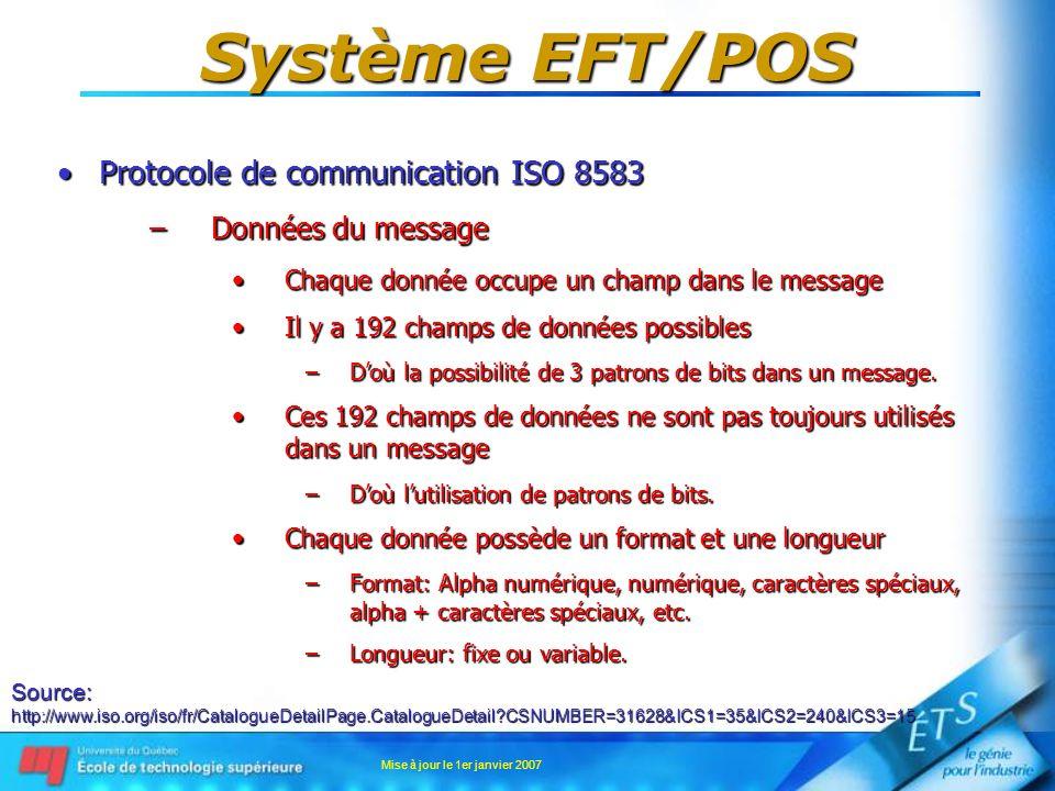 Mise à jour le 1er janvier 2007 Système EFT/POS Protocole de communication ISO 8583Protocole de communication ISO 8583 –Données du message Chaque donn