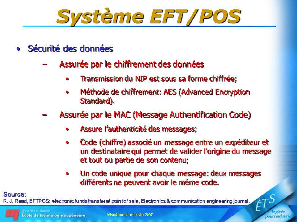 Mise à jour le 1er janvier 2007 Système EFT/POS Sécurité des donnéesSécurité des données –Assurée par le chiffrement des données Transmission du NIP e