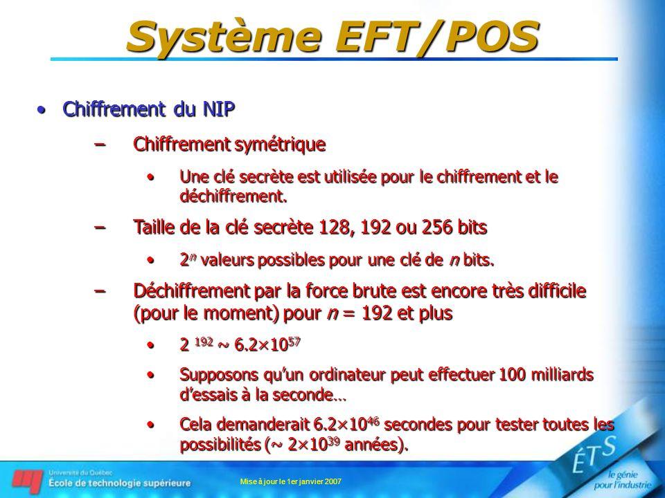 Mise à jour le 1er janvier 2007 Système EFT/POS Chiffrement du NIPChiffrement du NIP –Chiffrement symétrique Une clé secrète est utilisée pour le chif