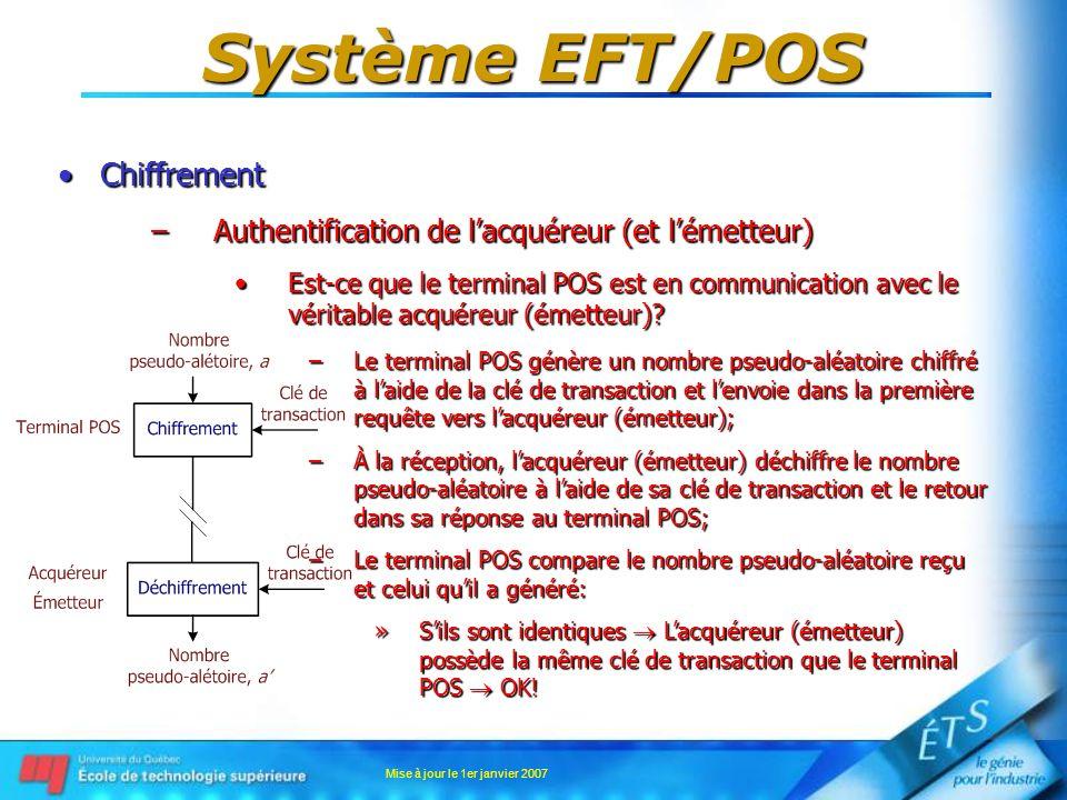 Mise à jour le 1er janvier 2007 Système EFT/POS ChiffrementChiffrement –Authentification de lacquéreur (et lémetteur) Est-ce que le terminal POS est e