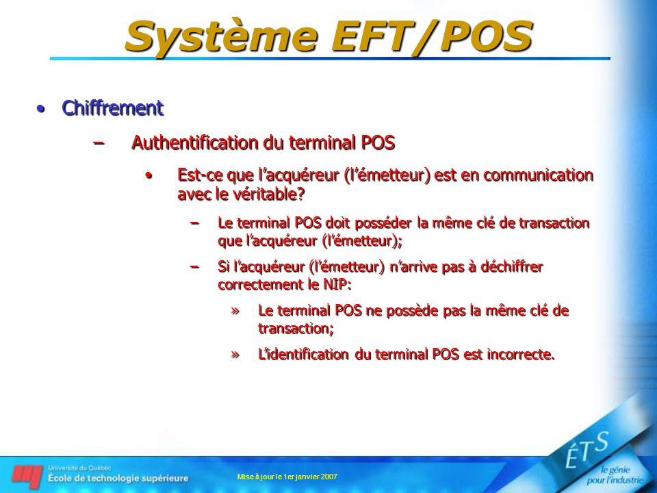 Mise à jour le 1er janvier 2007 Système EFT/POS ChiffrementChiffrement –Authentification du terminal POS Est-ce que lacquéreur (lémetteur) est en comm