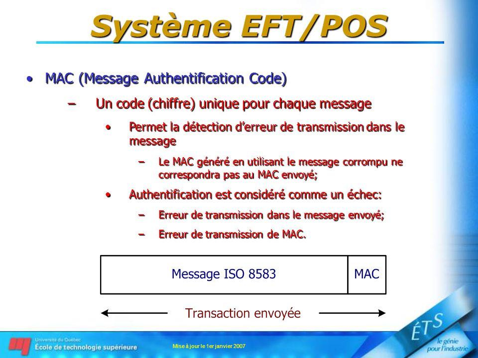 Mise à jour le 1er janvier 2007 Système EFT/POS MAC (Message Authentification Code)MAC (Message Authentification Code) –Un code (chiffre) unique pour