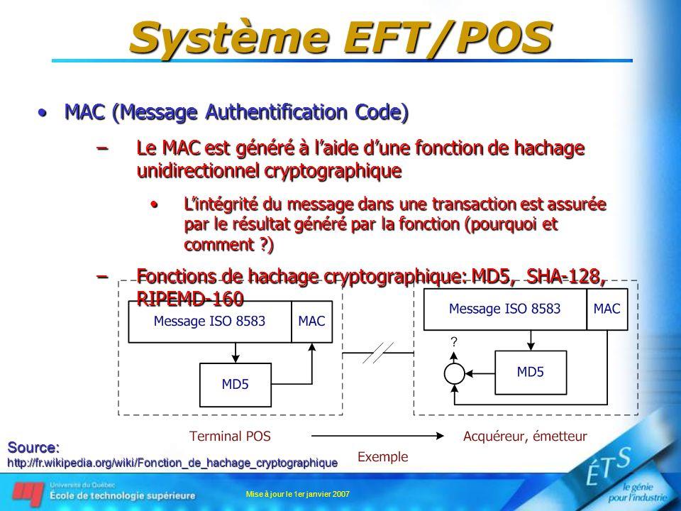 Mise à jour le 1er janvier 2007 Système EFT/POS MAC (Message Authentification Code)MAC (Message Authentification Code) –Le MAC est généré à laide dune