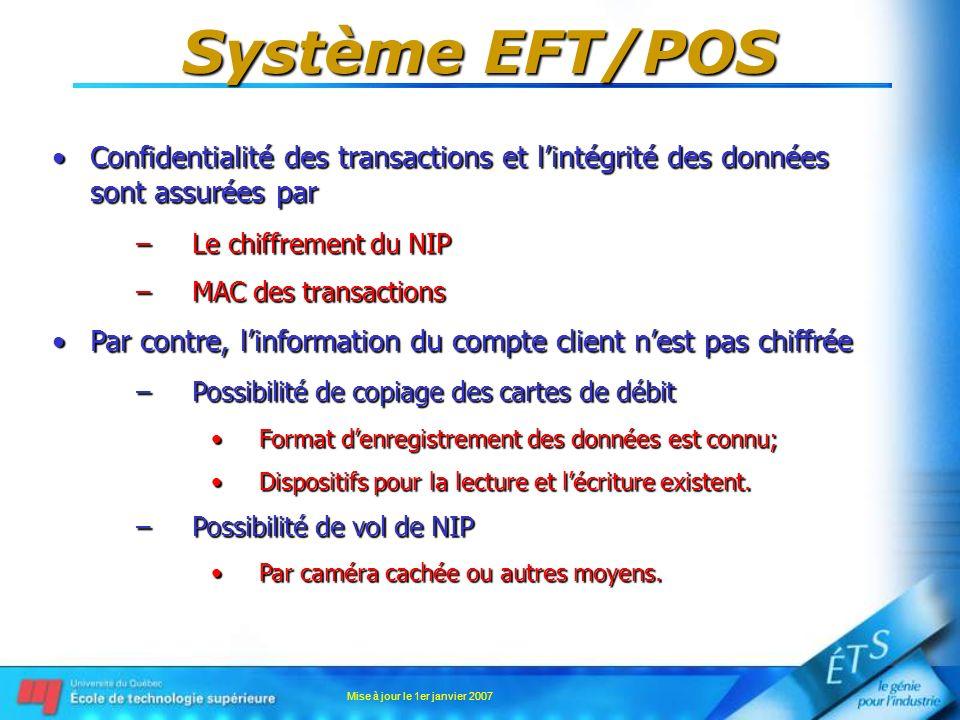 Mise à jour le 1er janvier 2007 Système EFT/POS Confidentialité des transactions et lintégrité des données sont assurées parConfidentialité des transa
