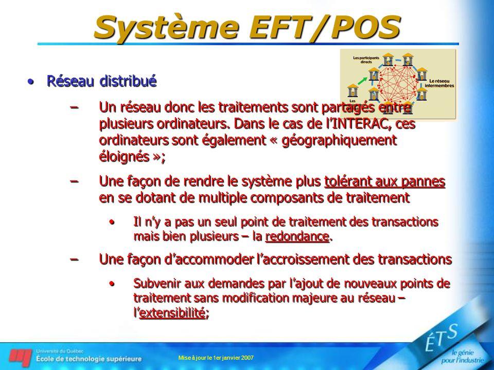 Mise à jour le 1er janvier 2007 Système EFT/POS Chiffrement du NIPChiffrement du NIP –Solution pratique – clés de transaction Du côté émetteur, le même processus est utilisé pour produire la clé de chiffrement/déchiffrementDu côté émetteur, le même processus est utilisé pour produire la clé de chiffrement/déchiffrement –Note: les informations de la carte de débit ainsi que lidentification du terminal POS sont envoyées sans chiffrement;