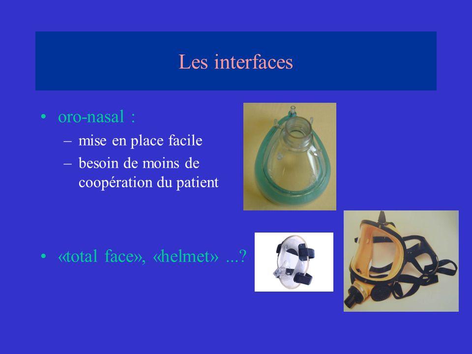 oro-nasal : –mise en place facile –besoin de moins de coopération du patient «total face», «helmet»...? Les interfaces