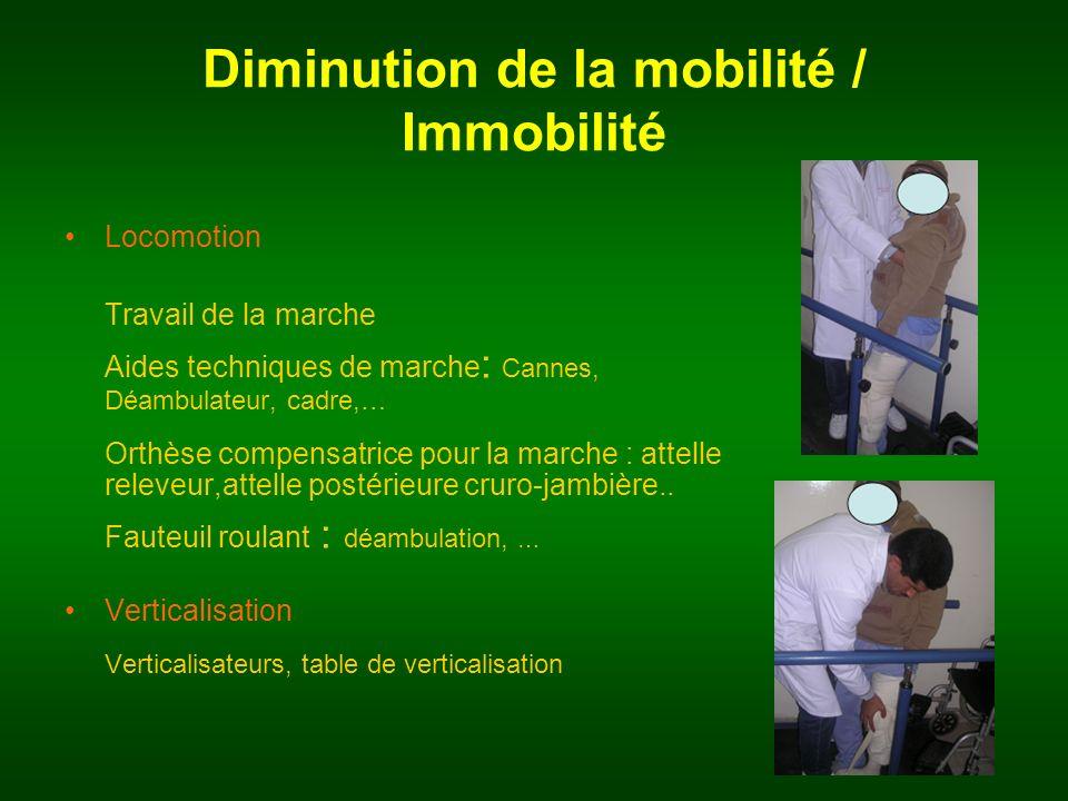 Locomotion Travail de la marche Aides techniques de marche : Cannes, Déambulateur, cadre,… Orthèse compensatrice pour la marche : attelle releveur,att