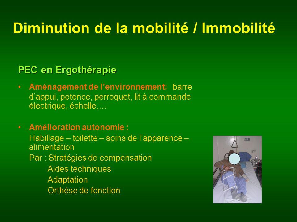 Diminution de la mobilité / Immobilité PEC en Ergothérapie Aménagement de lenvironnement: barre dappui, potence, perroquet, lit à commande électrique,