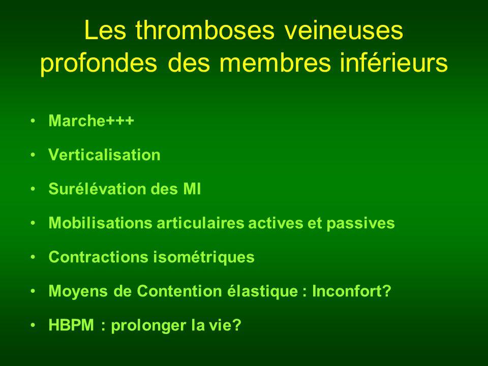 Les thromboses veineuses profondes des membres inférieurs Marche+++ Verticalisation Surélévation des MI Mobilisations articulaires actives et passives