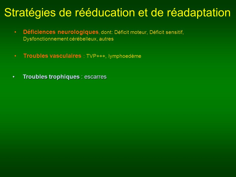 Stratégies de rééducation et de réadaptation Déficiences neurologiques, dont: Déficit moteur, Déficit sensitif, Dysfonctionnement cérébelleux, autres