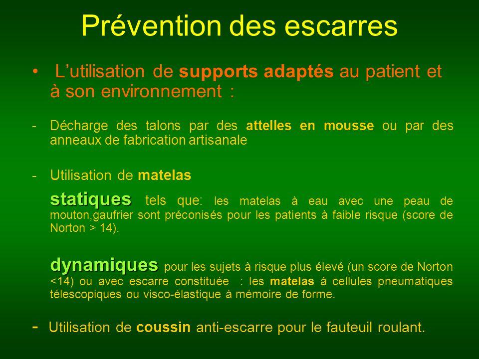 Prévention des escarres Lutilisation de supports adaptés au patient et à son environnement : -Décharge des talons par des attelles en mousse ou par de