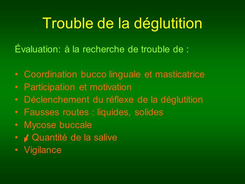 Trouble de la déglutition Évaluation: à la recherche de trouble de : Coordination bucco linguale et masticatrice Participation et motivation Déclenche