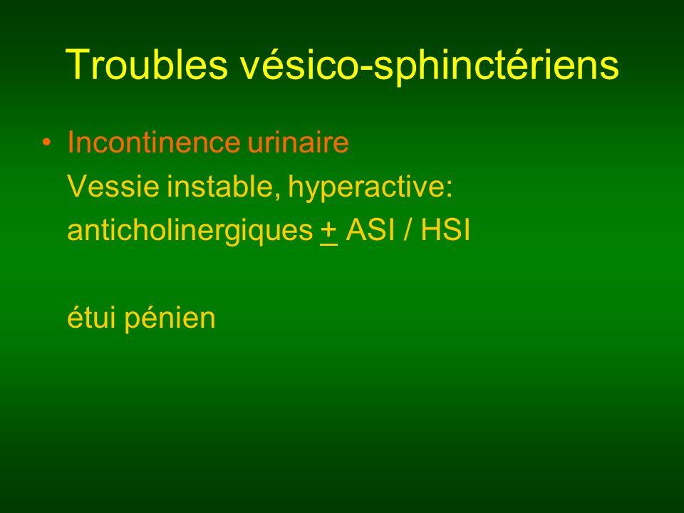 Troubles vésico-sphinctériens Incontinence urinaire Vessie instable, hyperactive: anticholinergiques + ASI / HSI étui pénien