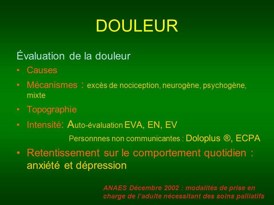 DOULEUR Évaluation de la douleur Causes Mécanismes : excès de nociception, neurogène, psychogène, mixte Topographie Intensité : A uto-évaluation EVA,