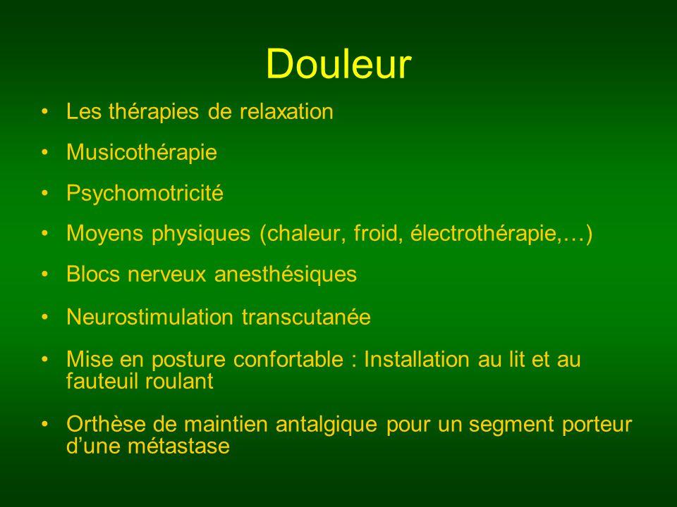 Douleur Les thérapies de relaxation Musicothérapie Psychomotricité Moyens physiques (chaleur, froid, électrothérapie,…) Blocs nerveux anesthésiques Ne