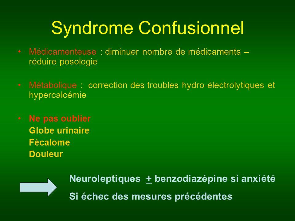 Syndrome Confusionnel Médicamenteuse : diminuer nombre de médicaments – réduire posologie Métabolique : correction des troubles hydro-électrolytiques