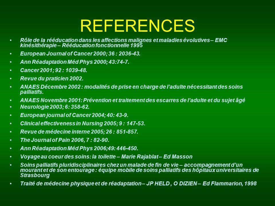 REFERENCES Rôle de la rééducation dans les affections malignes et maladies évolutives – EMC kinésithérapie – Rééducation fonctionnelle 1995 European J