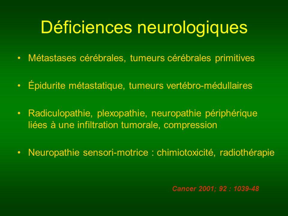 Déficiences neurologiques Métastases cérébrales, tumeurs cérébrales primitives Épidurite métastatique, tumeurs vertébro-médullaires Radiculopathie, pl