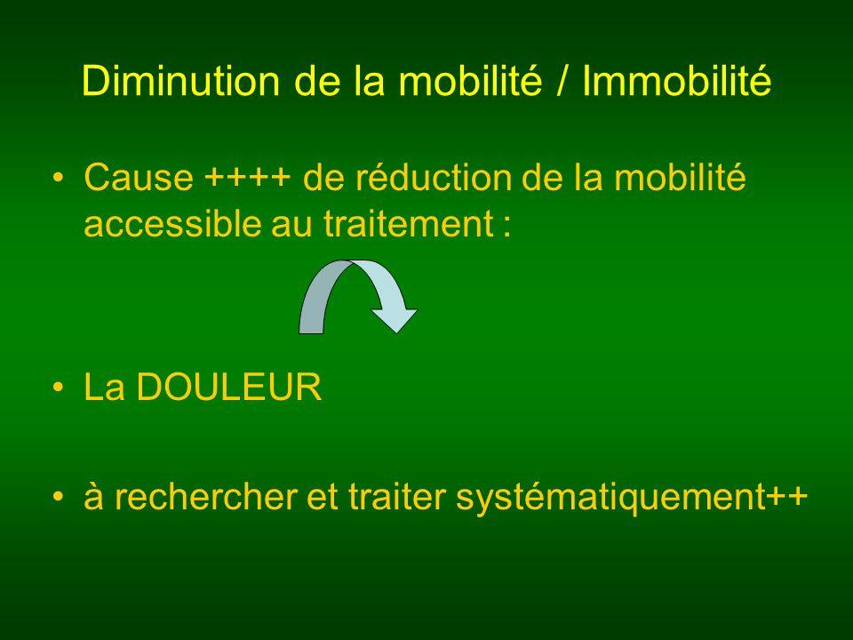 Diminution de la mobilité / Immobilité Cause ++++ de réduction de la mobilité accessible au traitement : La DOULEUR à rechercher et traiter systématiq