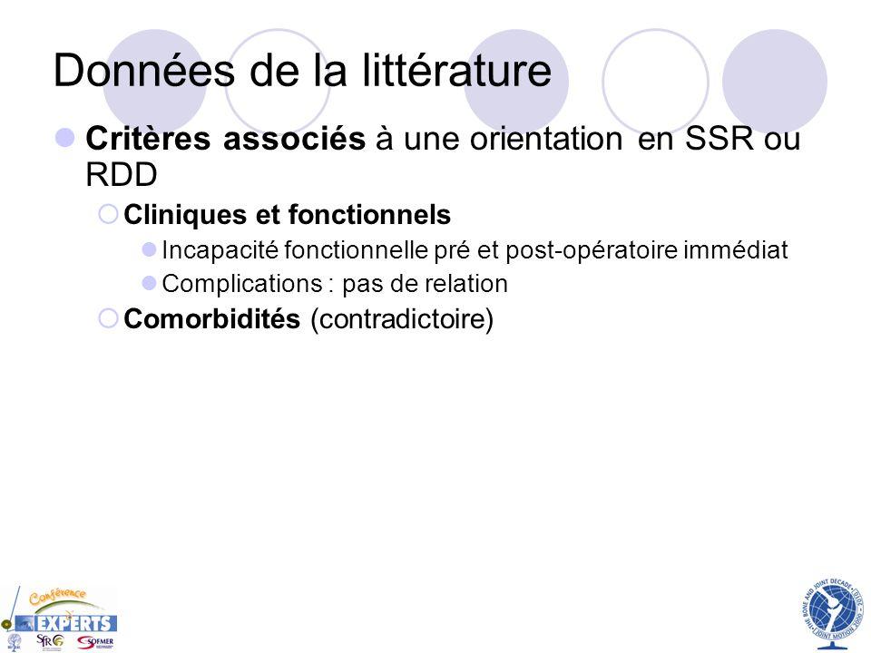 Données de la littérature Critères associés à une orientation en SSR ou RDD Cliniques et fonctionnels Incapacité fonctionnelle pré et post-opératoire
