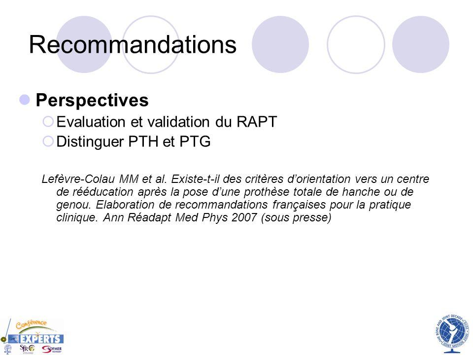 Recommandations Perspectives Evaluation et validation du RAPT Distinguer PTH et PTG Lefèvre-Colau MM et al. Existe-t-il des critères dorientation vers