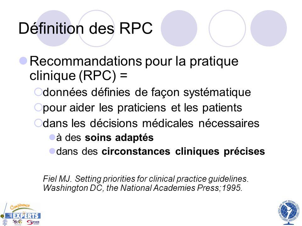 Définition des RPC Recommandations pour la pratique clinique (RPC) = données définies de façon systématique pour aider les praticiens et les patients