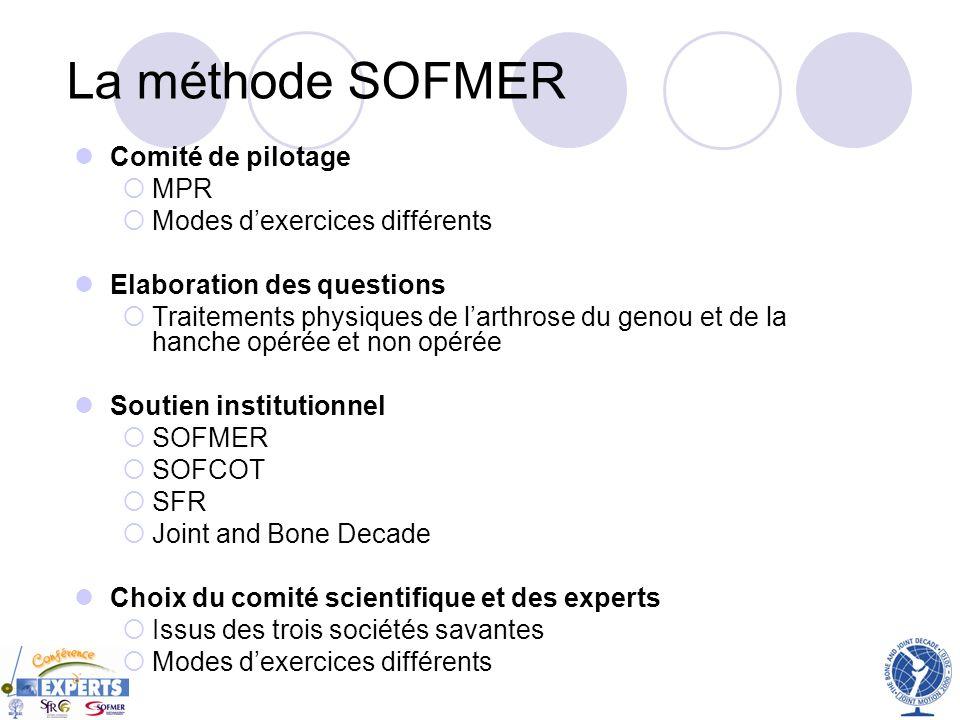 La méthode SOFMER Comité de pilotage MPR Modes dexercices différents Elaboration des questions Traitements physiques de larthrose du genou et de la ha